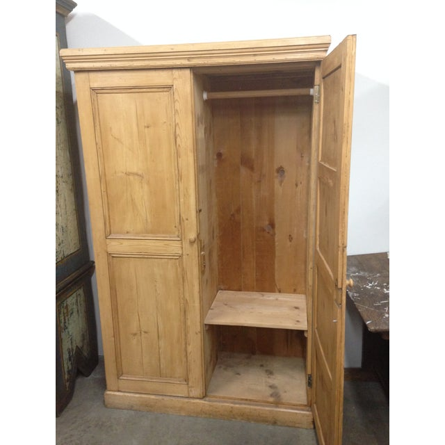 Antique Unpainted Rustic Pine Armoire For Sale - Image 5 of 11