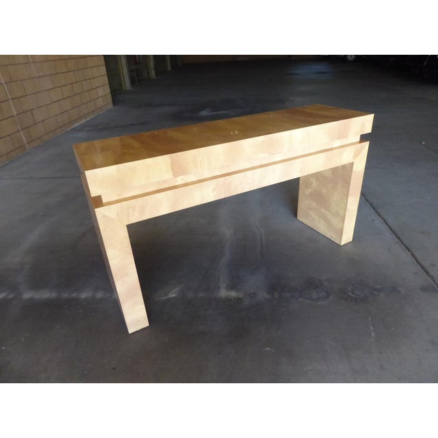 A Chic Art Deco Inspired Faux-Goatskin Console Table For Sale - Image 12 of 12