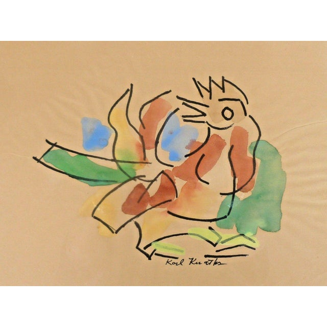 Modern Early 20th Century Antique Karl Otto Karl Knaths Rooster Gouache on Paper Painting For Sale - Image 3 of 4