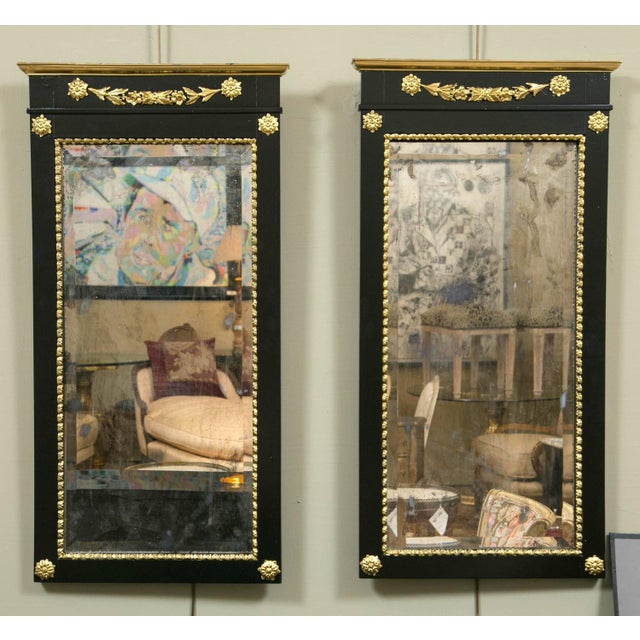 A Pair of Antique Ebony & Giltwood Mirrors - Image 3 of 7