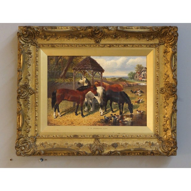 19th Century Country Scene Oil Painting on Canvas by John Fredrick Herring Jr. For Sale In Chicago - Image 6 of 6