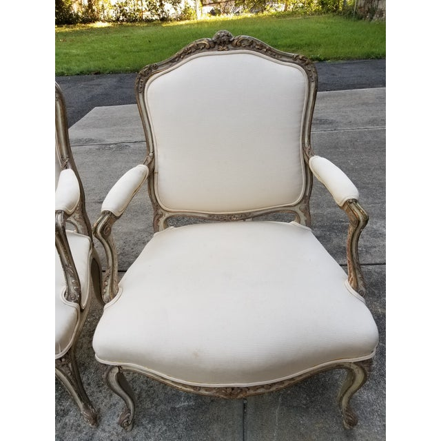 Vintage French Louis XV Style Armchairs - a Pair For Sale - Image 4 of 11