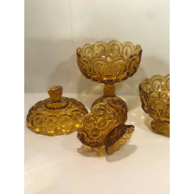 1960s Vintage Le Smith Amber Moon and Stars Glass Serveware Set of 4 For Sale - Image 5 of 8