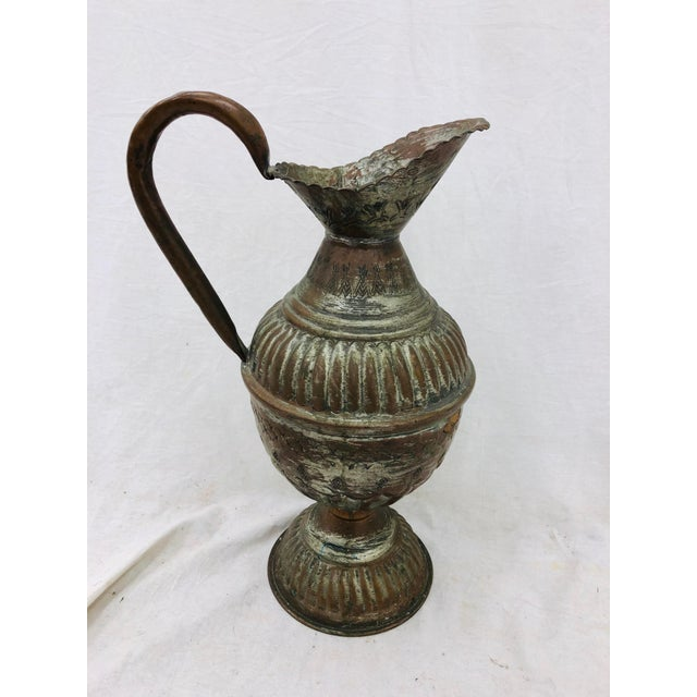 Stunning Hand Made Etched Indian Silver / Copper Pitcher with Fantastic Size & Detail. Perfect to add to a collection or...