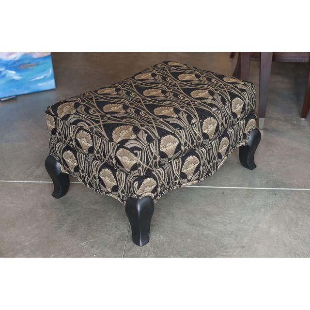 Custom Pearson Black Cream Floral Chair & Ottoman - Image 5 of 7