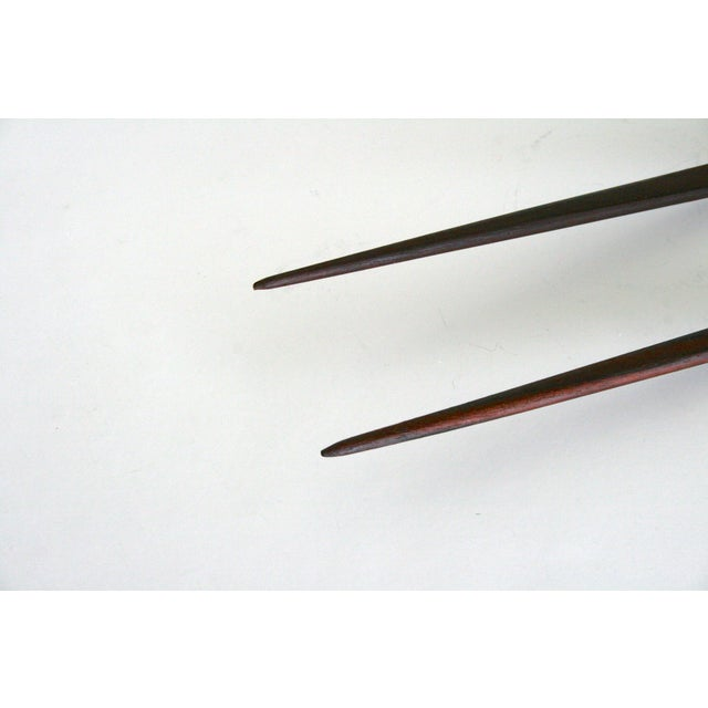 Metal Mid 20th Century Vintage Stainless Steel and Wood Serving Utensils- A Pair For Sale - Image 7 of 9