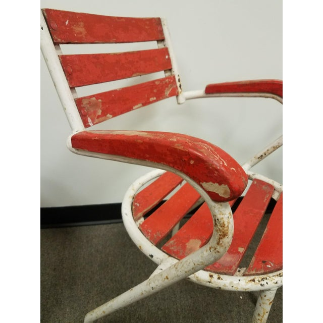 Red-Painted Garden Chairs - Set of 4 - Image 3 of 6