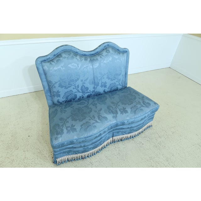 Traditional Baker Blue Damask Upholstered Loveseat Settee For Sale - Image 3 of 13