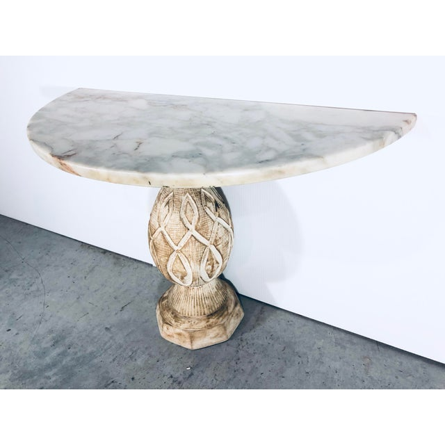 Mediterranean Mediterranean Pineapple Sculpted Demi Lune Table With Marble Top, 1970s For Sale - Image 3 of 11