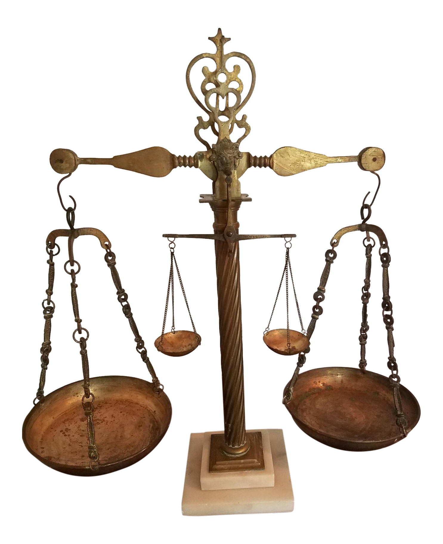 Vintage Italian Marble & Brass Twin Balance Justice Scales For Sale