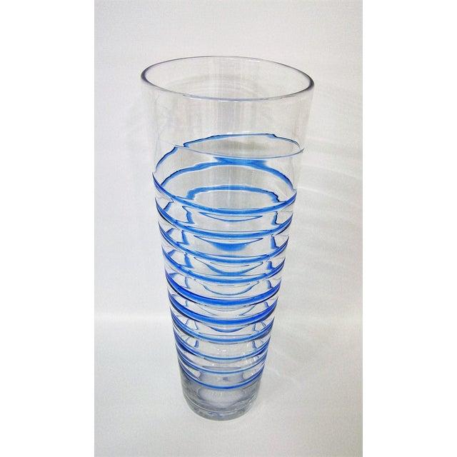 Blenko Monumental Transparent & Blue Glass Vintage Blenko Vase Large Mid-Century Modern MCM For Sale - Image 4 of 10