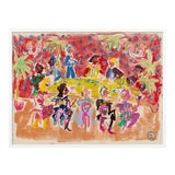 Image of At a Dinner Party by Happy Menocal in White Frame, XS Art Print For Sale