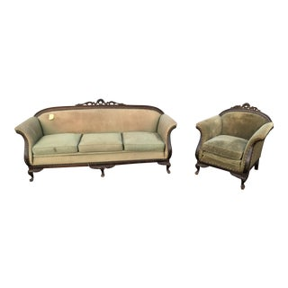 Antique Gothic Green Sofa and Armchair Set - 2 Pc. For Sale
