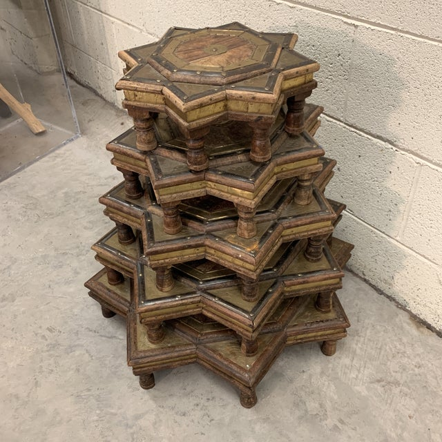Probably the coolest piece I have at moment. Moroccan star stacking tables. Not sure what these were originally intended...