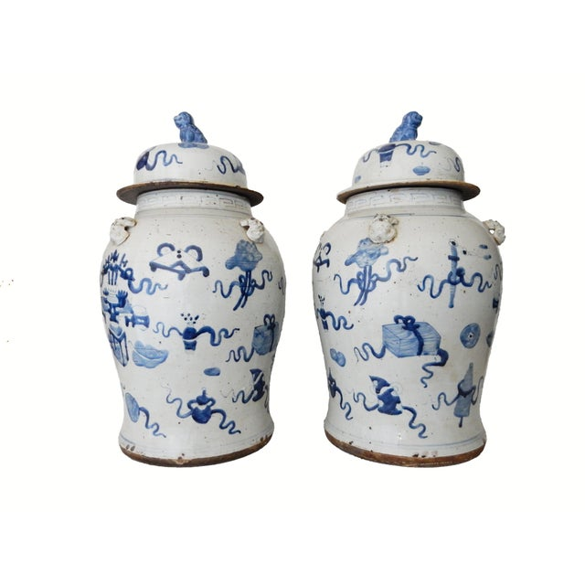 """1980s Superb Large Chinoiserie Blue & White Ginger Jars - a Pair 23"""" H For Sale - Image 5 of 8"""