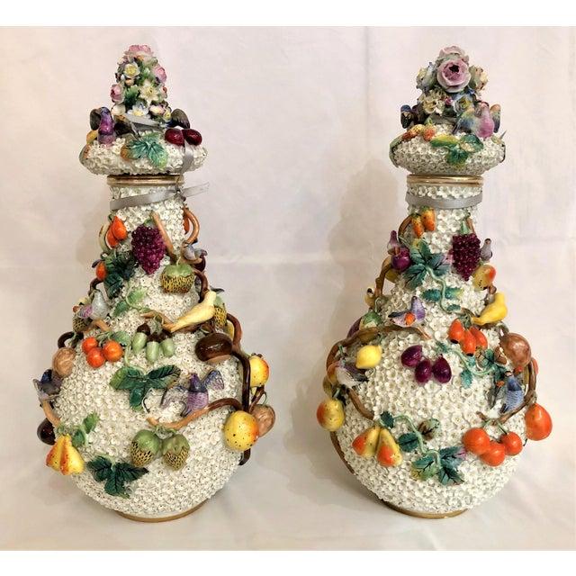 "Pair Exceptional Antique ""Milles Fleurs"" (1000 Flowers) Dresden Vases, Circa 1900. For Sale - Image 4 of 4"