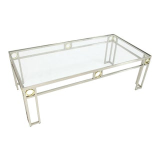 Brass Chrome Glass Rectangular Coffee Table For Sale