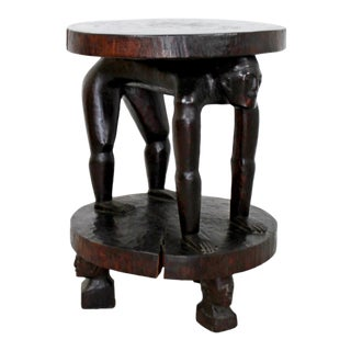 20th Century African Tribal Carved Rosewood Accent Table For Sale