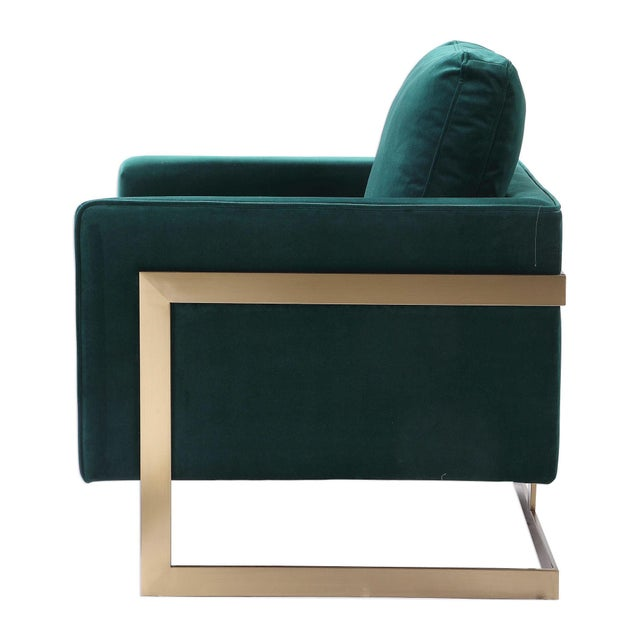 Contemporary Emerald Green Plush Velvet Accent Chair For Sale - Image 3 of 6