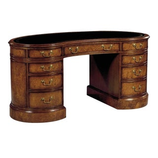 Scarborough House Myrtle Burl Blue Kidney Desk For Sale
