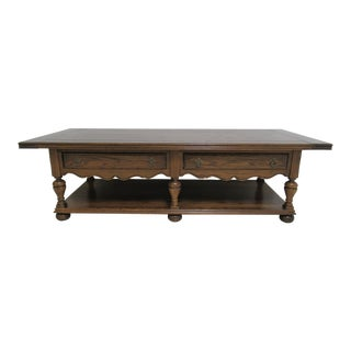 Ethan Allen Jacobean Royal Charter Oak Coffee Table For Sale