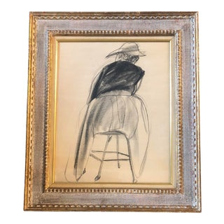 Original Vintage Charcoal Study Milton Avery Style For Sale