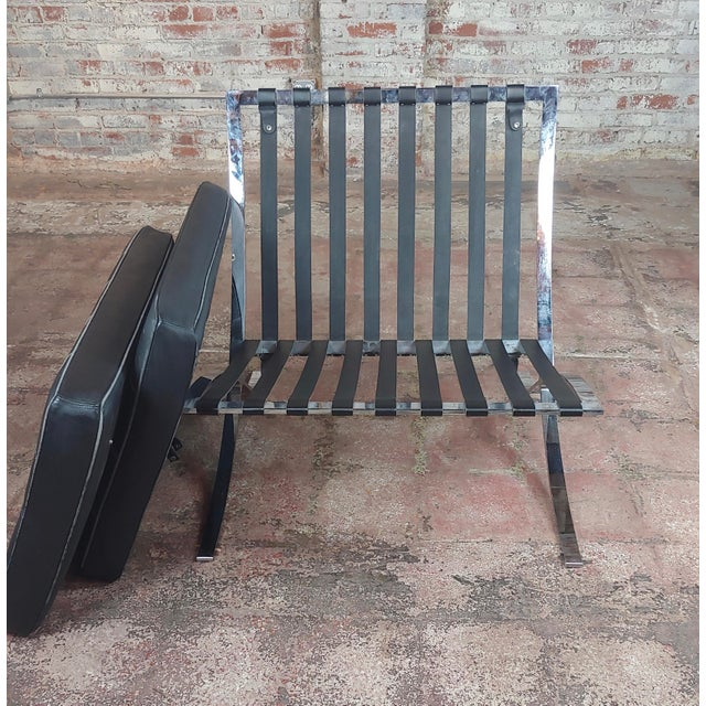 Barcelona Chairs -Beautiful Vintage Black Leather Seats -A Pair For Sale - Image 10 of 11