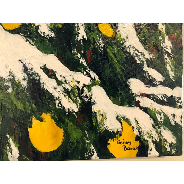 Green Meyer Lemons in the Snow Acrylic on Stretched Canvas Signed by Artist Framed Green Yellow White For Sale - Image 8 of 11