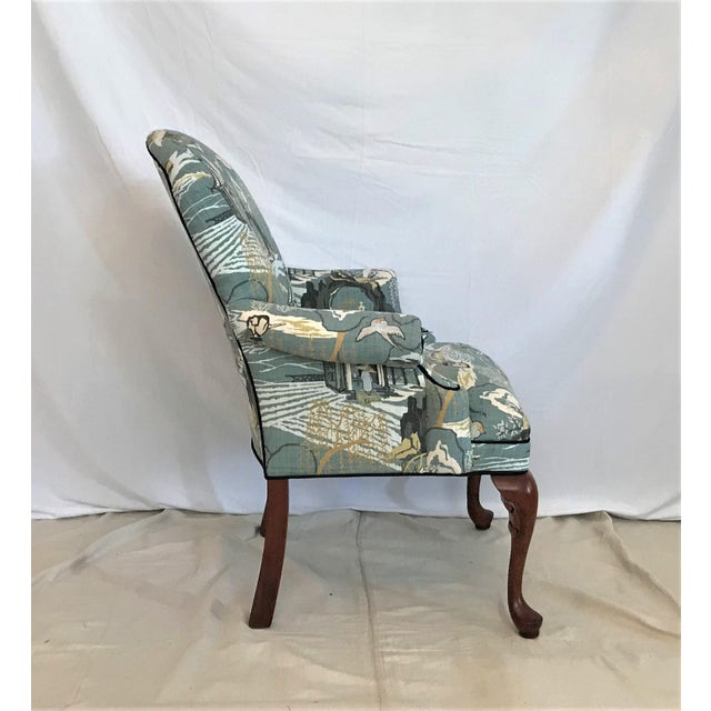 Chinoiserie Mid Century Robert Allen Chinoiserie Toile Upholstered Queen Anne Armchair For Sale - Image 3 of 8