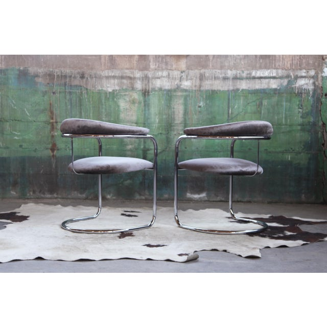 1960s Mid Century Modern Anton Lorenz for Thonet Bent Chrome Cantilever Chairs - a Pair For Sale - Image 5 of 12