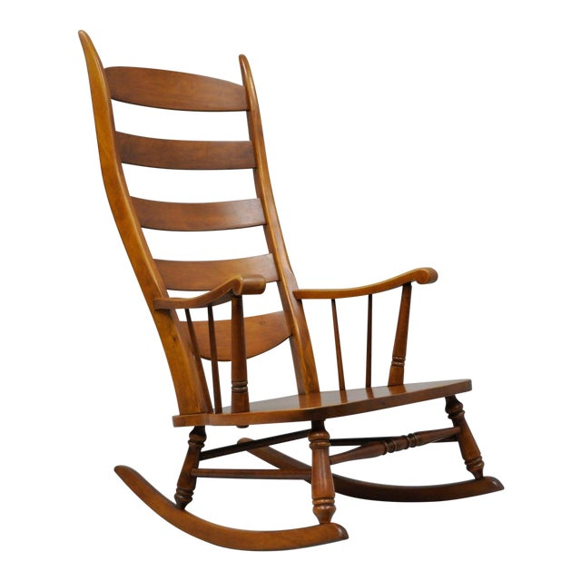 Mid-Century Tell City Maple Sculptural Ladder Back Rocking Chair For Sale