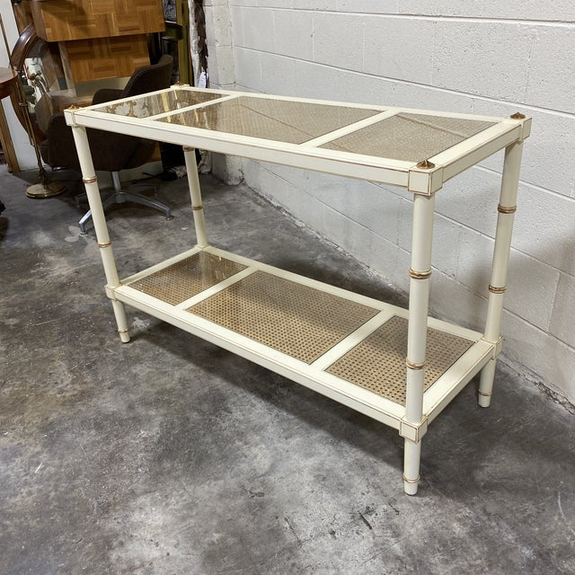 Vintage Off White and Gold Leaf Two Tier Console With Wicker Panels For Sale - Image 11 of 12