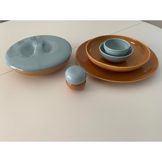 Russel Wright's iconic mid century modern Iroquois Casual China in blue and apricot. This is a small set of 3 serving...