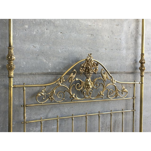 19th Wide Brass Four Poster Bed With Bird Castings, Ornamental Motifs and Crown For Sale - Image 9 of 13