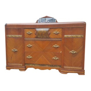 Antique Art Deco Waterfall Dresser With Mirror