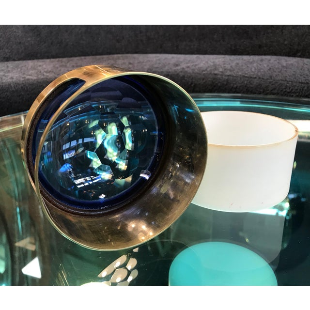 Round Brass Decorative Box With Blue Glass , Italy 1960s For Sale In Los Angeles - Image 6 of 8