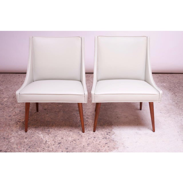 Vintage Walnut and Leather Slipper Chairs by Milo Baughman - a Pair For Sale In New York - Image 6 of 13