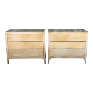 Lacquered Goatskin Pair of Chests of Drawers