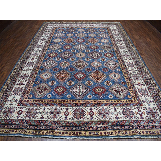 Islamic Hand Knotted Blue Kazak Wool Rug For Sale - Image 3 of 13