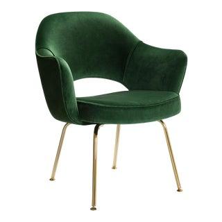 Saarinen Executive Arm Chairs in Emerald Velvet, 24k Gold Edition