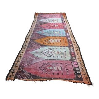 1960s Vintage Turkish Kilim Rug - 4′7″ × 11′7″ For Sale