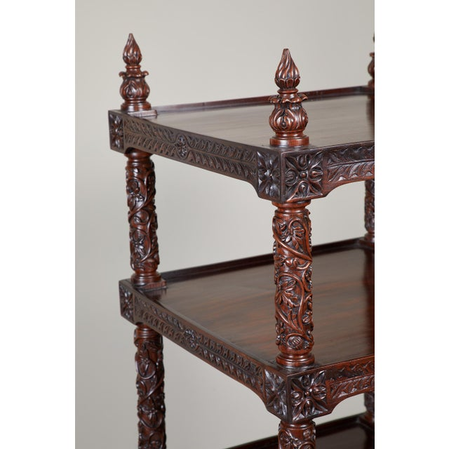 19th Century Four Tiered Rosewood Carved Etagere - Image 6 of 10
