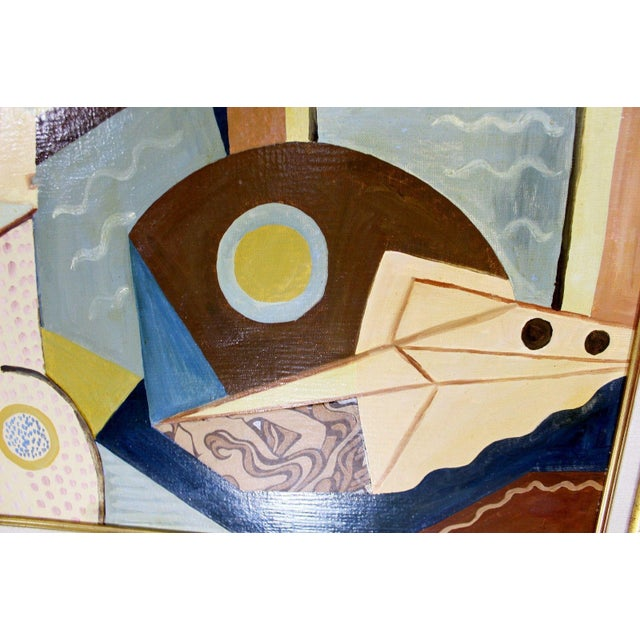 Cubist Style Framed Painting Signed H. Riedel For Sale In Detroit - Image 6 of 10