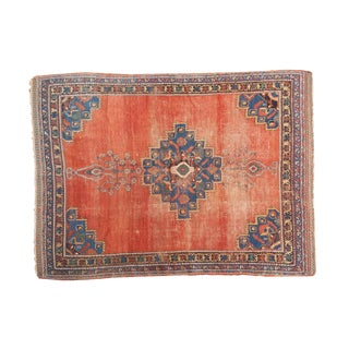 "Antique Afshar Distressed Rug- 4'5"" x 5'11"""