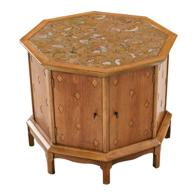 Horizon by Thomasville Decorative Abstract Stone Top Octagon Commode Cabinet For Sale