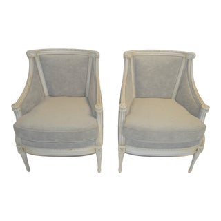 Louis XVI Style Painted Bergere Chairs - a Pair For Sale