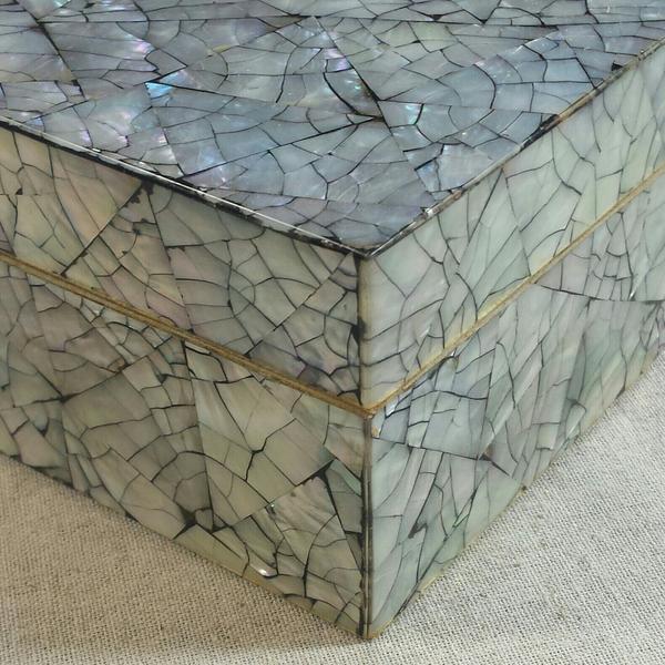 Boho Chic Abalone Shell Mosaic Box For Sale - Image 3 of 5