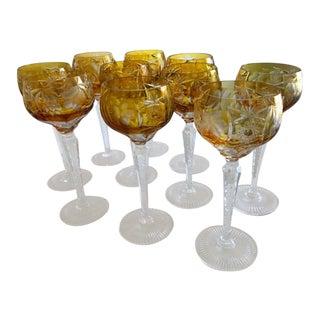 1970s Mid-Century Modern Nachtmann Amber Colored Fine Bavarian Crystal Glasses - Set of 10