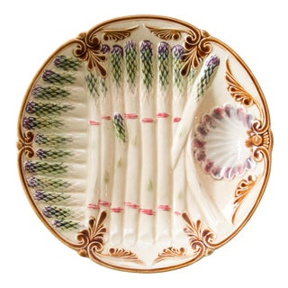 Antique French Majolica Asparagus Plate
