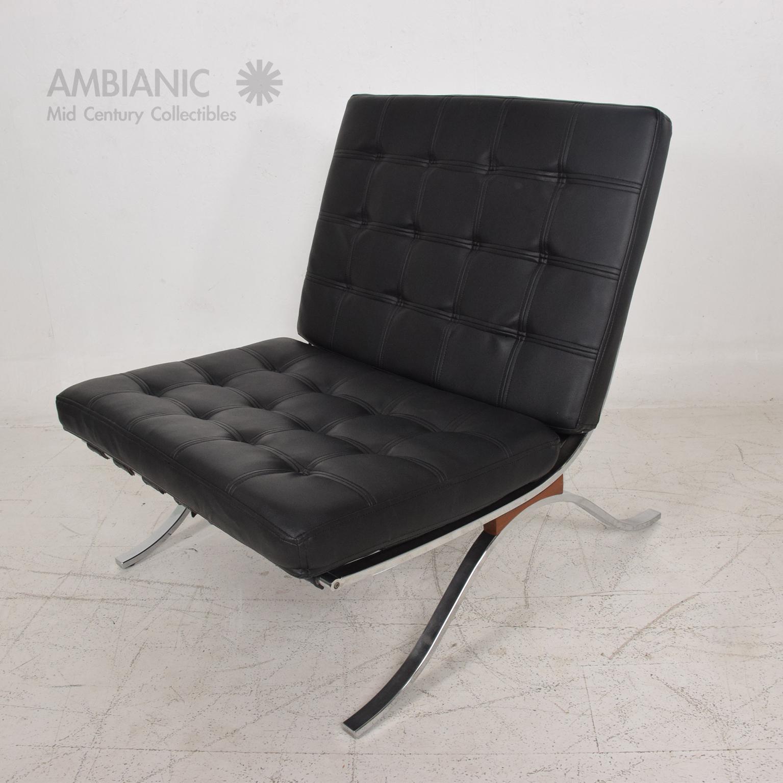 Mid Century Modern Selig Barcelona Chair Chrome U0026 Naugahyde   Image 5 ...